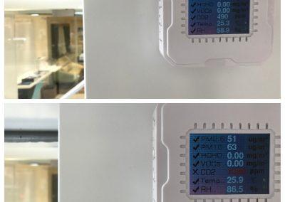 戶外傳感器安裝時測試,向它噴幾口氣,二氧化碳、濕度都即時上升